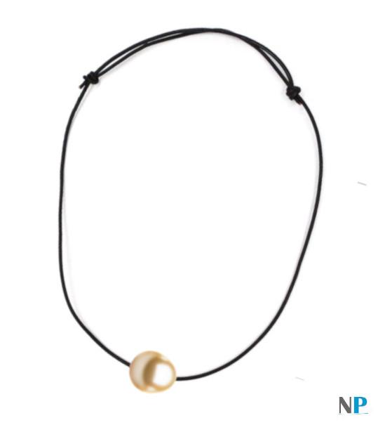 Lien cuir aux noeuds coulissantes avec perles drop Philippine