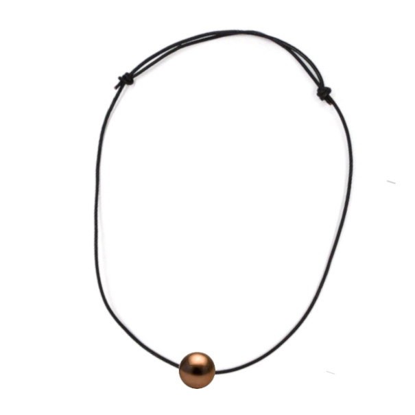 Collier en cuir avec perle de Tahiti Chocolat et noeuds coulissants