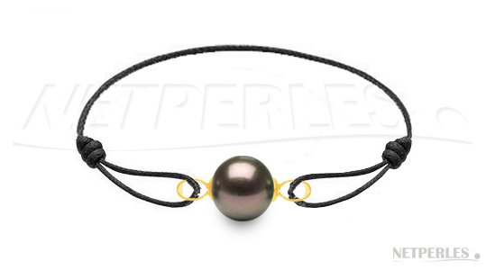 Bracelet en cuir avec une belle perle de Tahiti de 10-11 mm sur Or 18 carats