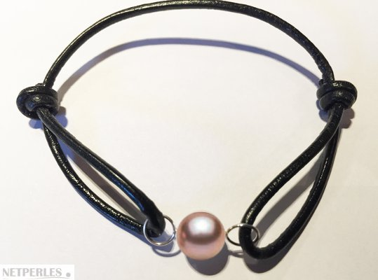 Bracelet Cuir, Or Gris et perle d'eau douce Lavande AAA