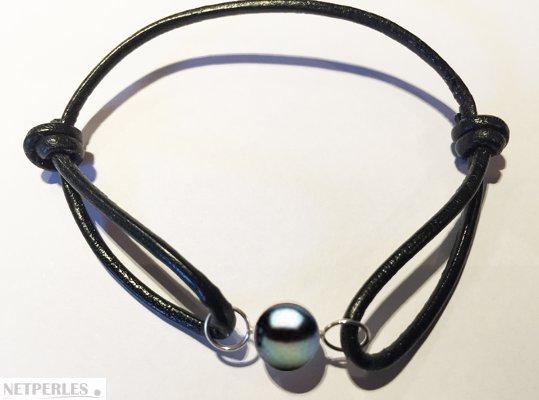Bracelet Cuir, Or Gris et perle d'eau douce Noire AAA