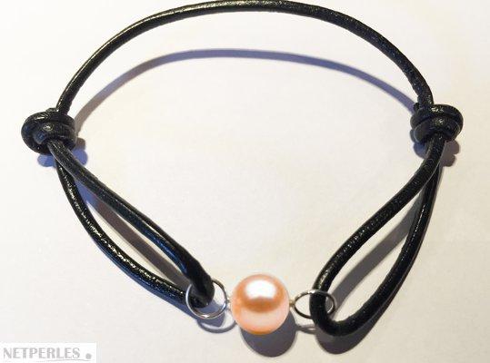 Bracelet Cuir, Or Gris et perle d'eau douce Pêche AAA