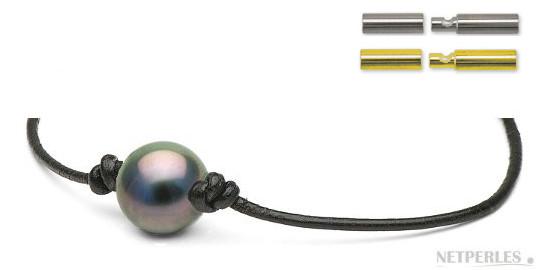 Bracelet en cuir avec perle de Tahiti et fermoir en Or 18k
