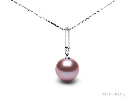 Pendentif Or et diamant avec perle d'eau douce doucehadama lavande