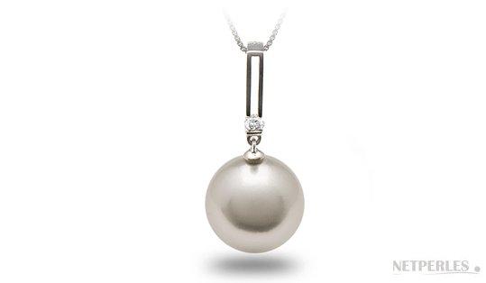 Pendentif DECO avec diamant et perle d'Australie