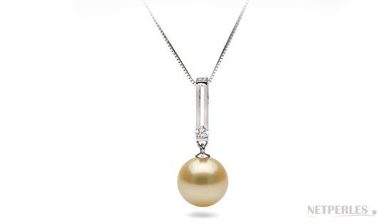 Pendentif DECO avec perle dorée d'Australie