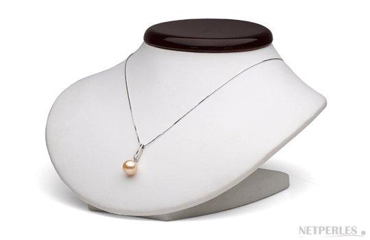 Pendentif or et diamant avec perle de culture d'australie dorée