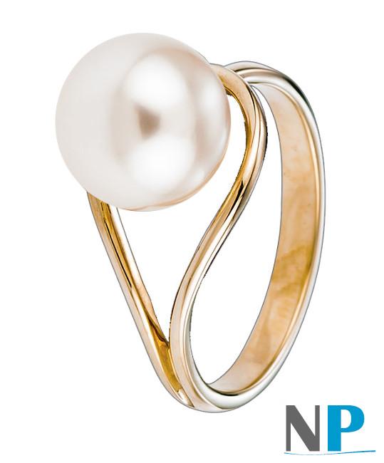 Bague en Or Jaune 18k avec une belle perle de culture d'Eau douce blanche DOUCEHADAMA