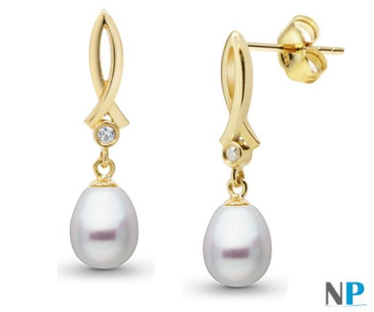 Boucles d'Oreilles en Or Jaune 18 carats avec diamants et perles forme de goutte blanches argentées