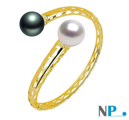 Bracelet en or jaune 9k et deux perles de Tahiti e d'Australie