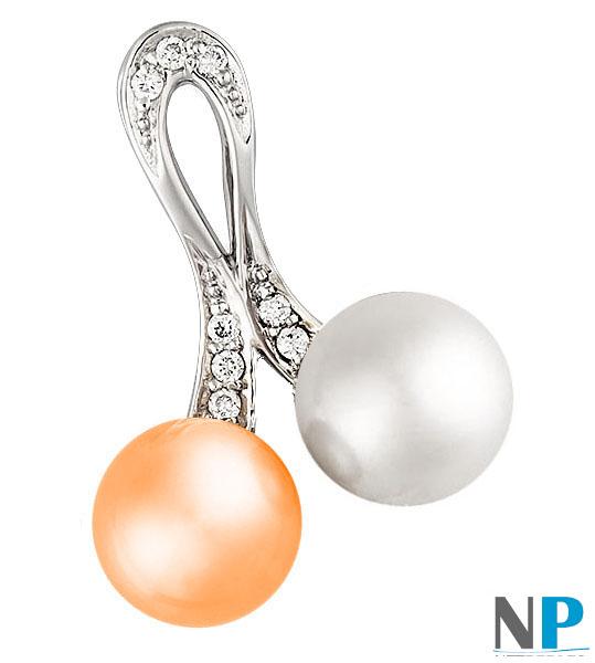 Pendentif en Or Gris 14k avec une perle blanche et une pêche