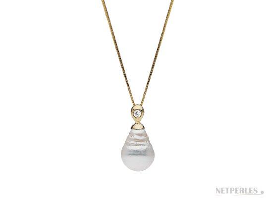 Pendentif Eclat en Or Jaune et diamant, Perle d'Australie Baroque