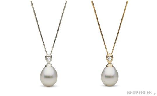 Pendentif Or et diamant avec perle Goutte blanche argentée  d'Australie
