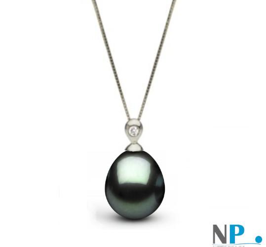 Pendentif or gris et Diamant avec perle de Tahiti