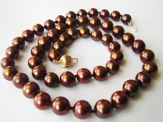 Collier de perles d'eau douce Chocolat