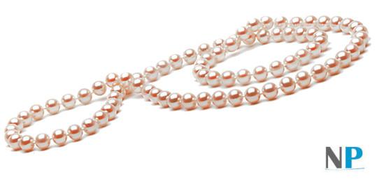 Collier de perles de culture d'eau douce roses pêches de 66 cm sans fermoir