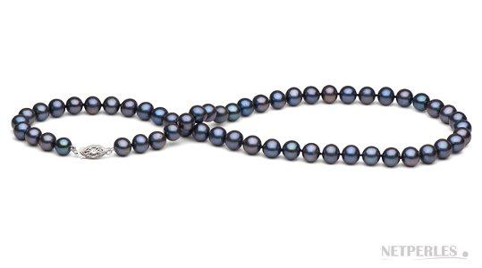 Collier de perles d'eau douce noires