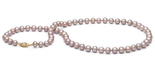 Collier de perles d'eau douce couleur naturelle lavande