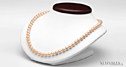 collier de perles de culture d'eau douce couleur naturelle : pêche