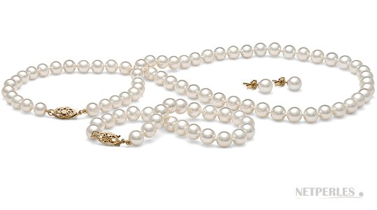 Parure 3 gioielli di perle di coltura d'acqua dolce, 6-7 mm, bianche