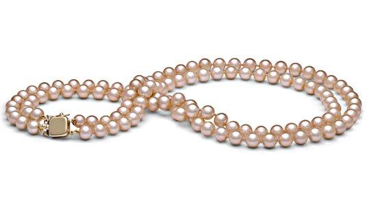 Double rang de perles d'eau douce pêches 45 cm