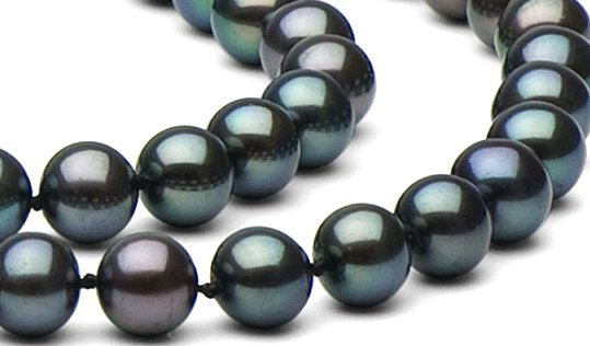 Perles noires multireflets d'eau douce