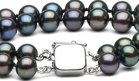 Fermoir or gris pour double rang de perles
