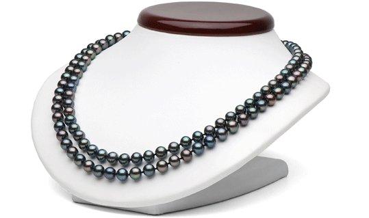 Collier double rang de perles noires d'eau douce