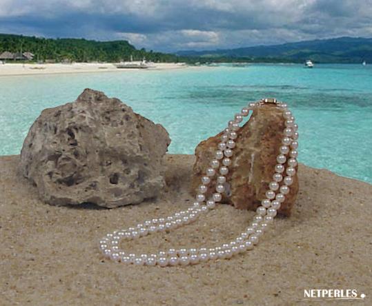 Collier de perles de culture d'eau douce double rang