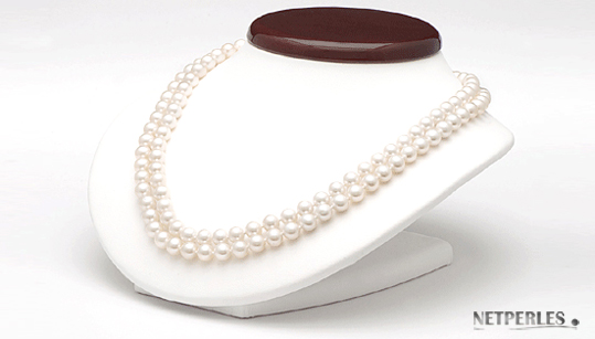 Collier de perles de culture d'eau douce blanches
