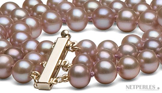 Collier de perles de culture d'eau douce 3 rangs