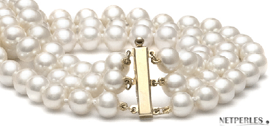 Fermoir pour collier de perles trois rangs