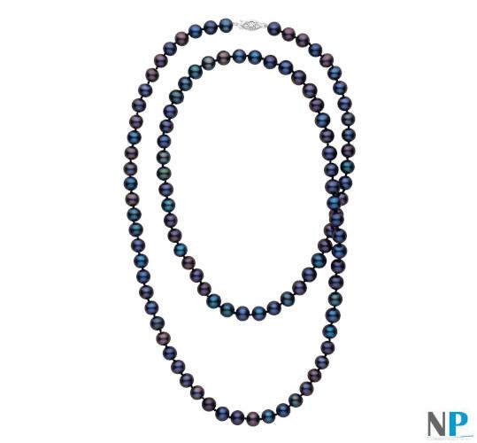 Sautoir de perles d'eau douce noires