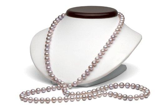 Collier 90 cm de perles de culture d'eau douce couleur lavande
