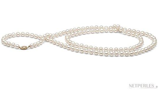 Sautoir de perles d'eau douce blanches