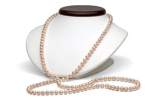 Collier 90 cm de perles d'eau douce couleur naturelle peche