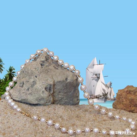 Collier or et perles de culture d'eau douce blanches qualité AAA