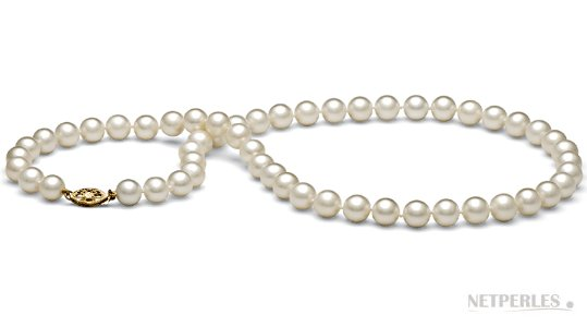 Collier 45 cm de perles d'eau douce 7,5-8 mm