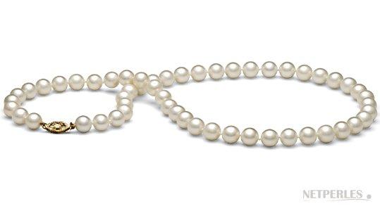 Collier 45 cm de perles d'eau douce 7,5-8 mm