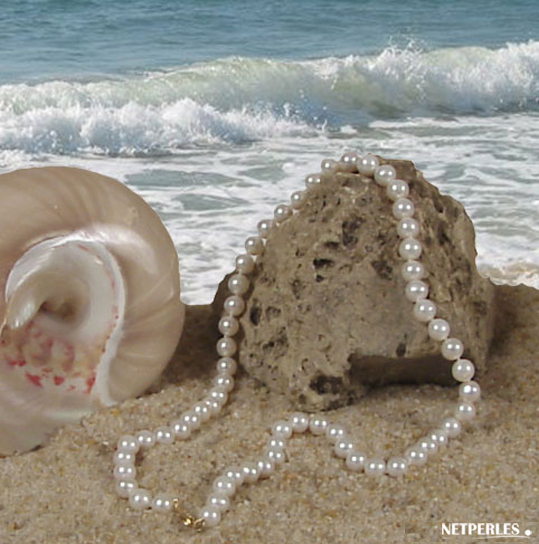Collier de perles de culture d'eau douce blanches 45 cm diamètre 7 à 8 mm
