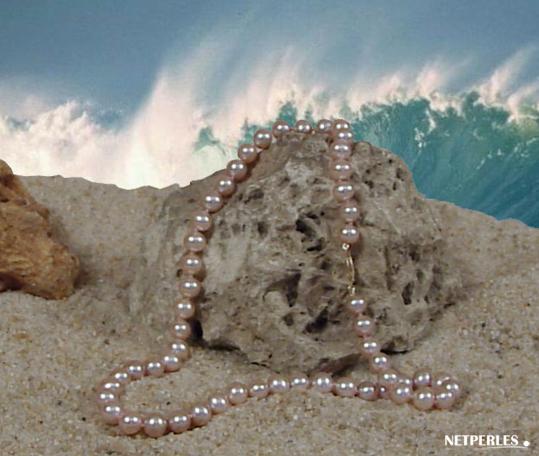 Collier de perles de culture d'eau douce lavande qualité AA+ et AAA