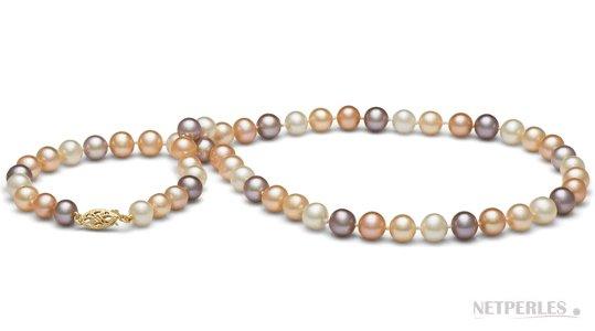 Collier de perles d'eau douce multicolores