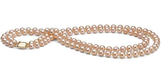 Collier de perles d'eau douce, double rang, couleur naturelle pêche