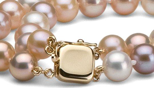 Fermoir or jaune pour collier double rang de perles de culture