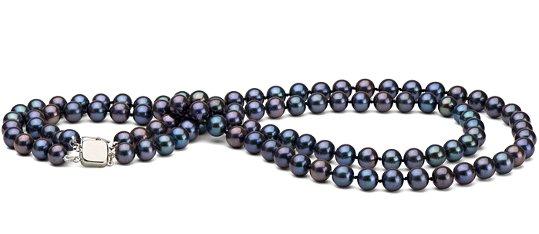 Collier double rang de perles de culture d'eau douce noires