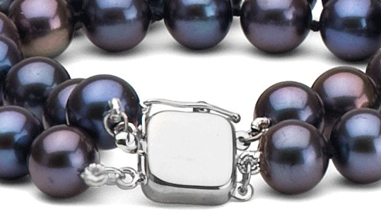 Fermoir de sécurité en or gris pour collier double rang de perles