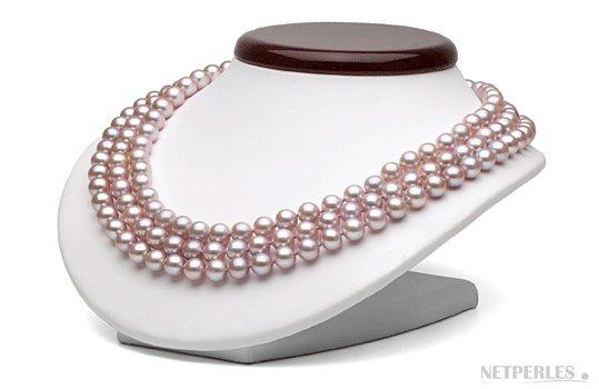 Collier triple rang de perles de culture d'eau douce lavandes