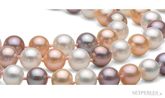 Perles d'eau douce multicolor blanche pêche et lavande doucehadama