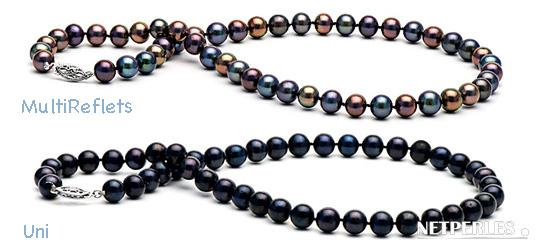 Collier de perles de culture d'eau douce noires qualité AAA ou AA+