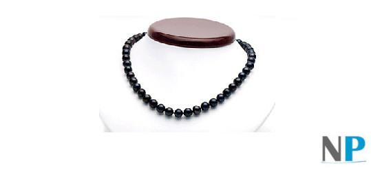 Collier de perle de culture d'eau douce noires qualité AA+ ou AAA